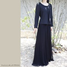 画像3: 【スッキリ美人への近道】フォーマルブラックのシフォンスカート (3)