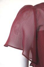 画像11: SALE / 展示品につき半額(42,000→21,000円) ハイウエスト切替の袖付きフレアーロングドレス(レッド)S号 (11)