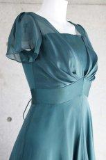画像8: ハイウエスト切替の袖付きフレアーロングドレス (8)