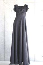 画像5: ハイウエスト切替の袖付きフレアーロングドレス (5)