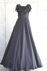 画像7: ハイウエスト切替の袖付きフレアーロングドレス (7)