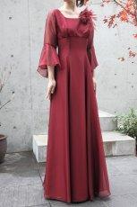 画像6: 【音楽の女神】演奏姿を最高に美しく魅せる袖裾広がりのフレアーロングドレス (6)