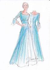 画像4: 【音楽の女神】演奏姿を最高に美しく魅せる袖裾広がりのフレアーロングドレス (4)