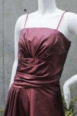 画像15: 【シンプルなのに印象的】ドレープ&ギャザーの玉虫調フレアーロングドレス (15)
