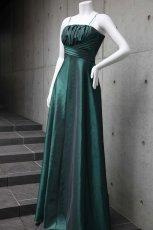 画像5: 胸元ギャザー&プリーツの玉虫調フレアーロングドレス (5)