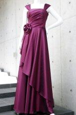 画像2: ライトシャンタンのオーバースカート付き風フレアーロングドレス (2)