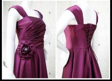 画像7: ライトシャンタンのオーバースカート付き風フレアーロングドレス (7)
