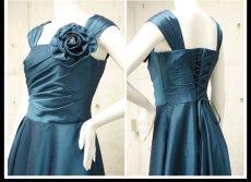 画像9: ライトシャンタンのオーバースカート付き風フレアーロングドレス (9)