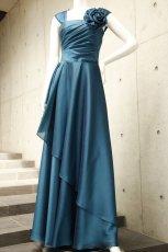 画像3: ライトシャンタンのオーバースカート付き風フレアーロングドレス (3)