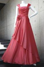 画像4: ライトシャンタンのオーバースカート付き風フレアーロングドレス (4)