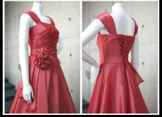 画像11: ライトシャンタンのオーバースカート付き風フレアーロングドレス (11)