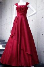 画像5: ライトシャンタンのオーバースカート付き風フレアーロングドレス (5)