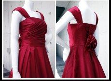 画像13: ライトシャンタンのオーバースカート付き風フレアーロングドレス (13)