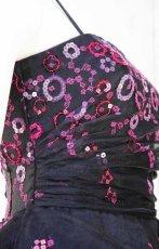 画像9: 【数量限定】イタリア製オーガンジーで仕立てるふわひら羽根とオーバースカート付き風フレアーロングドレス(ブラック) (9)