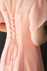 画像5: 胸元ヨーク切替の袖付きフレアーロングドレス (5)