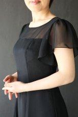 画像3: 胸元ヨーク切替の袖付きフレアーロングドレス (3)