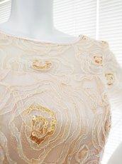 画像5: 【数量限定】リボンテープ刺繍&スパンコール入りベージュチュールネットの袖付きフレアーロングドレス (5)