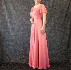 画像2: ハイウエスト切替の袖付きフレアーロングドレス (2)