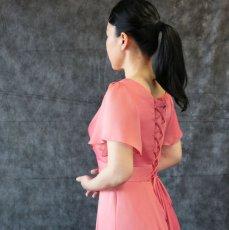 画像12: ハイウエスト切替の袖付きフレアーロングドレス (12)