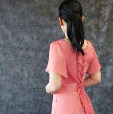 画像13: ハイウエスト切替の袖付きフレアーロングドレス (13)