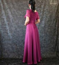 画像6: ハイウエスト切替の袖付きフレアーロングドレス (6)
