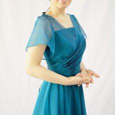 画像12: クロス&タックで細見え/優雅なドレープ入りフレアーの袖付きロングドレス (12)