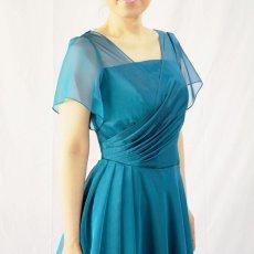画像13: クロス&タックで細見え/優雅なドレープ入りフレアーの袖付きロングドレス (13)