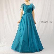 画像19: クロス&タックで細見え/優雅なドレープ入りフレアーの袖付きロングドレス (19)