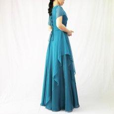 画像6: クロス&タックで細見え/優雅なドレープ入りフレアーの袖付きロングドレス (6)