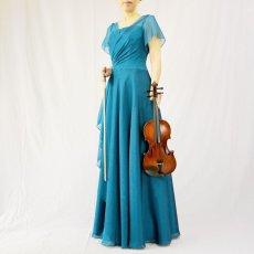 画像8: クロス&タックで細見え/優雅なドレープ入りフレアーの袖付きロングドレス (8)