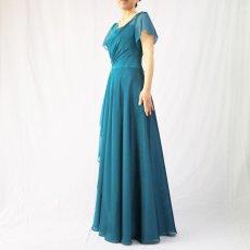 画像9: クロス&タックで細見え/優雅なドレープ入りフレアーの袖付きロングドレス (9)