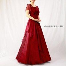 画像16: クロス&タックで細見え/優雅なドレープ入りフレアーの袖付きロングドレス (16)