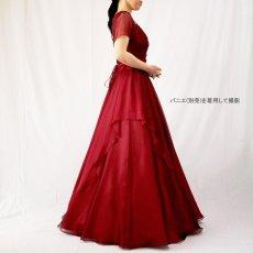 画像17: クロス&タックで細見え/優雅なドレープ入りフレアーの袖付きロングドレス (17)