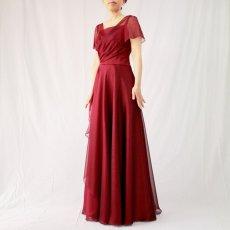 画像4: クロス&タックで細見え/優雅なドレープ入りフレアーの袖付きロングドレス (4)