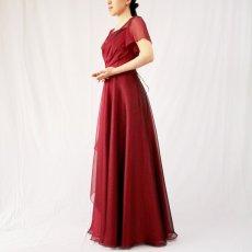 画像5: クロス&タックで細見え/優雅なドレープ入りフレアーの袖付きロングドレス (5)