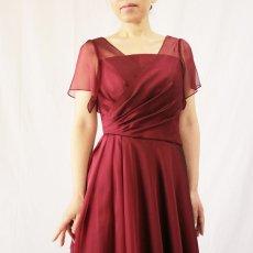 画像7: クロス&タックで細見え/優雅なドレープ入りフレアーの袖付きロングドレス (7)