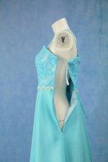 画像19: 数量限定 / きらきら小花のウエストラインとふんわりしたリボンテープ刺繍が可愛い / パステルブルーフレアーロングドレス (19)
