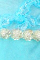 画像7: 数量限定 / きらきら小花のウエストラインとふんわりしたリボンテープ刺繍が可愛い / パステルブルーフレアーロングドレス (7)