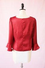 画像7: 【高品質】とろみが美しいモードサテンの赤いブラウス(単品) (7)