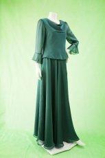 画像2: 深みが美しい楊柳シフォンのグリーンブラウス&ロングスカート(お得なセット) (2)