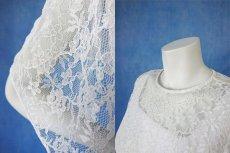画像12: 数量限定 / さりげない華やかさで重宝 / レースブラウス付きのホワイトフレアーロングドレス(アンサンブル) (12)