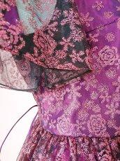 画像19: 数量限定 / 動くたびにキラキラ輝くパープルフラワーが美しい袖付きフレアーロングドレス (19)