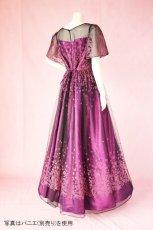 画像4: 数量限定 / 動くたびにキラキラ輝くパープルフラワーが美しい袖付きフレアーロングドレス (4)