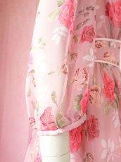 画像18: 数量限定 / ポワン袖に癒されるピンクローズ(バラ)の袖付きフレアーロングドレス (18)