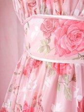 画像19: 数量限定 / ポワン袖に癒されるピンクローズ(バラ)の袖付きフレアーロングドレス (19)