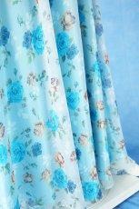 画像12: 数量限定 / ポワン袖に癒されるブルーローズ(バラ)の袖付きフレアーロングドレス (12)