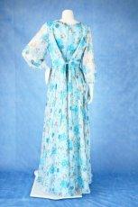 画像14: 数量限定 / ポワン袖に癒されるブルーローズ(バラ)の袖付きフレアーロングドレス (14)