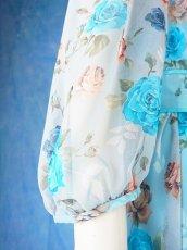 画像18: 数量限定 / ポワン袖に癒されるブルーローズ(バラ)の袖付きフレアーロングドレス (18)
