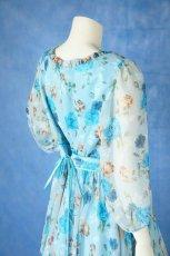 画像6: 数量限定 / ポワン袖に癒されるブルーローズ(バラ)の袖付きフレアーロングドレス (6)