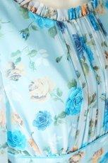 画像9: 数量限定 / ポワン袖に癒されるブルーローズ(バラ)の袖付きフレアーロングドレス (9)